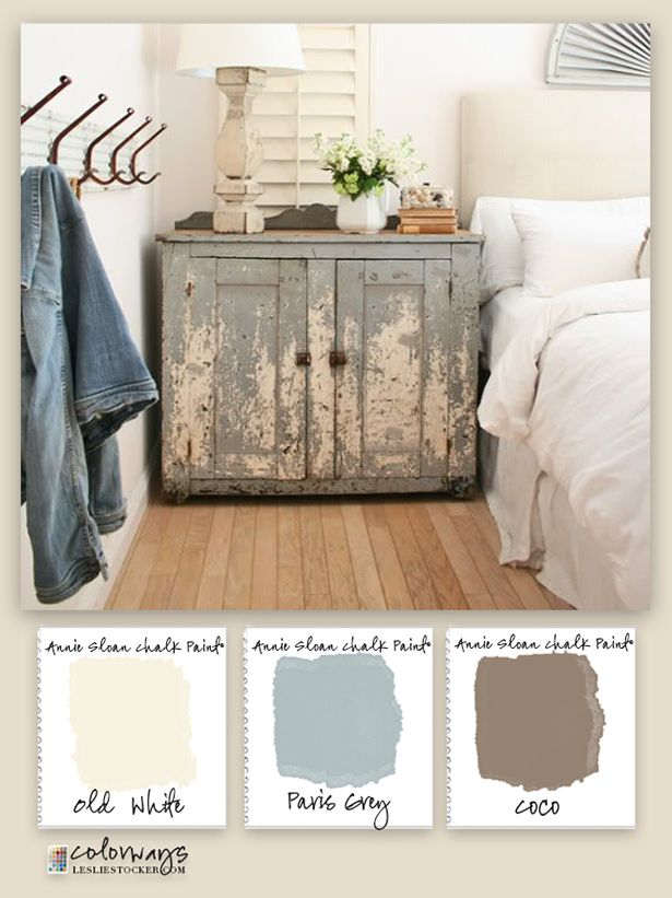 Colorways with Leslie Stocker » Rough Luxe. To add character to modern decor, Annie Sloan Chalk Paint®. Old White, Paris Grey, Coco on old cupboard