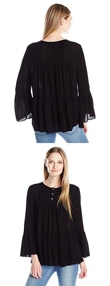 Karen Kane Women's Half-Placket Shirred Top, Black, L