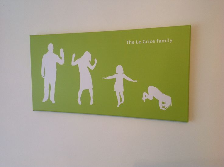 Family illustration on canvas