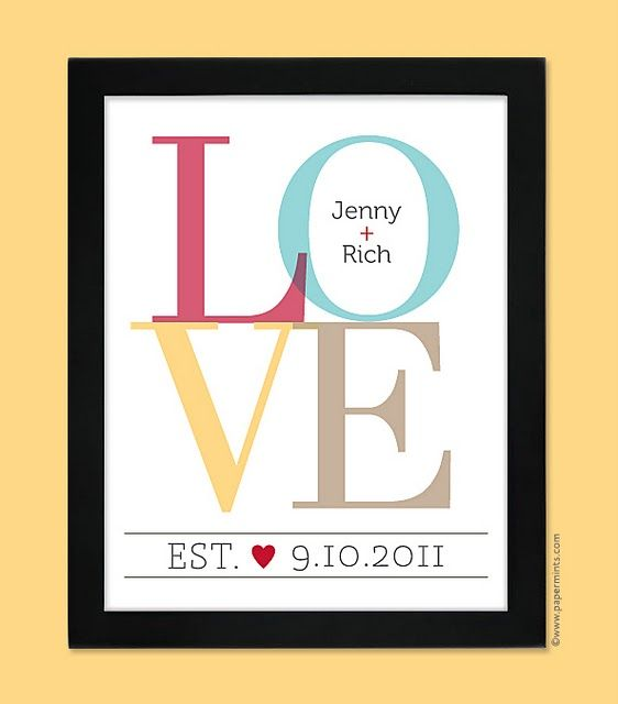 Love Picture with name & wedding date -I made this, I used light colors, L-light pink O-light green V-light orange E-light blue and put it in a frame with a wide black border. It turned out beautiful!