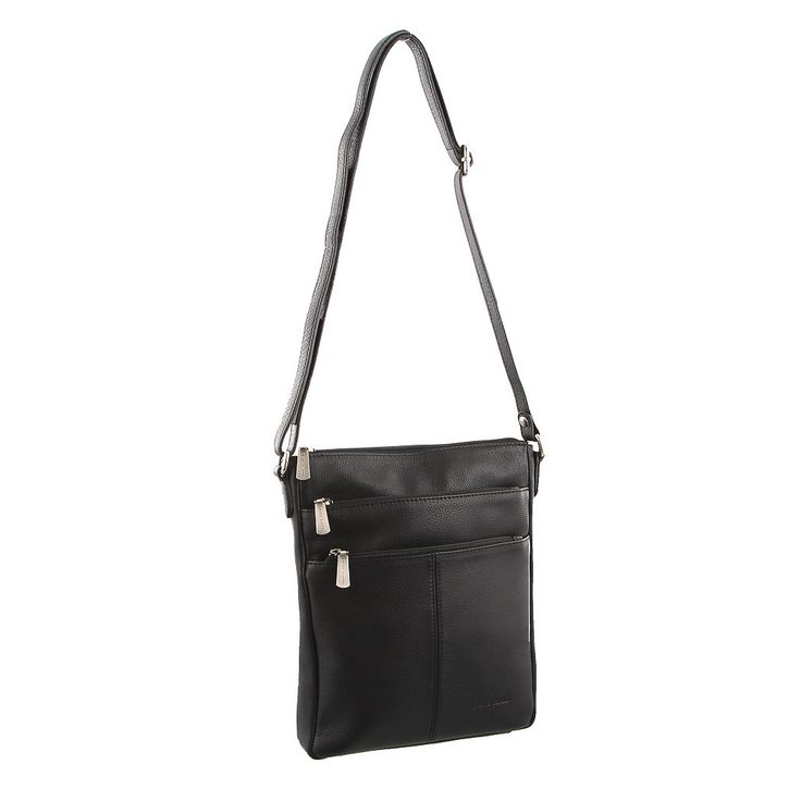 Pierre Cardin Leather Cross Body Bag PC1688 Black.  Pierre Cardin Leather Cross Body Bag is a awesome little bag, with so many uses. The crossover shoulder strap makes it ideal for travel.  This little Pierre Cardin Leather Cross Body Bag had three zippered compartments.  The top one opens up into the main area of the bag and it has a zip section for small items