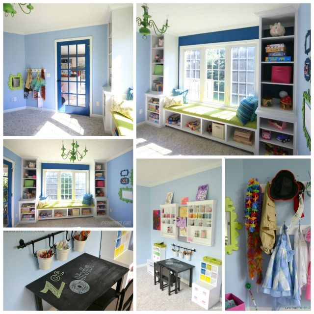 Kid's playroom! Love the built-ins and chalkboard desk