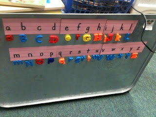 Good idea to give kids the letter to match the magnetic letter to.