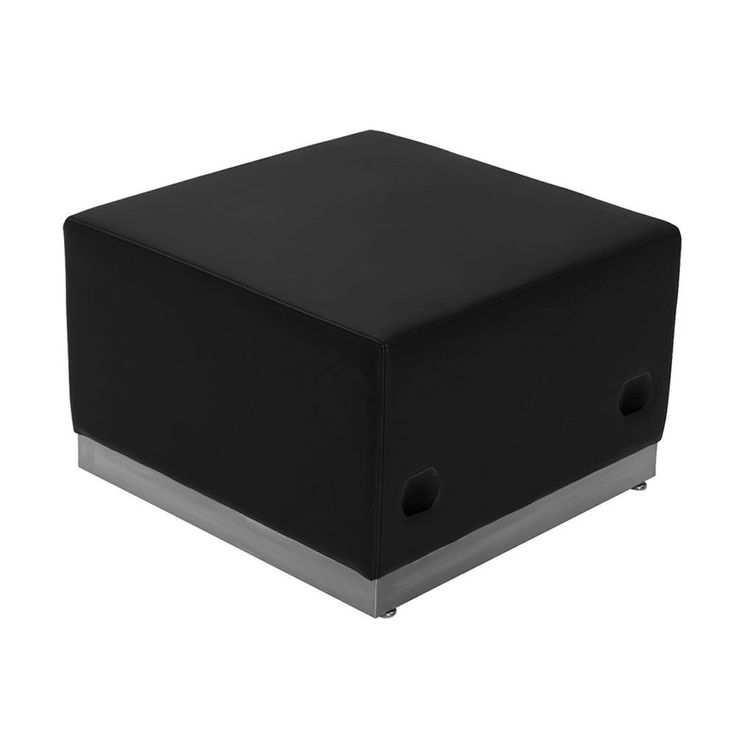 Offex Hercules Alon Series Black Leather Ottoman with Stainless Steel Base (Black Leather Ottoman)