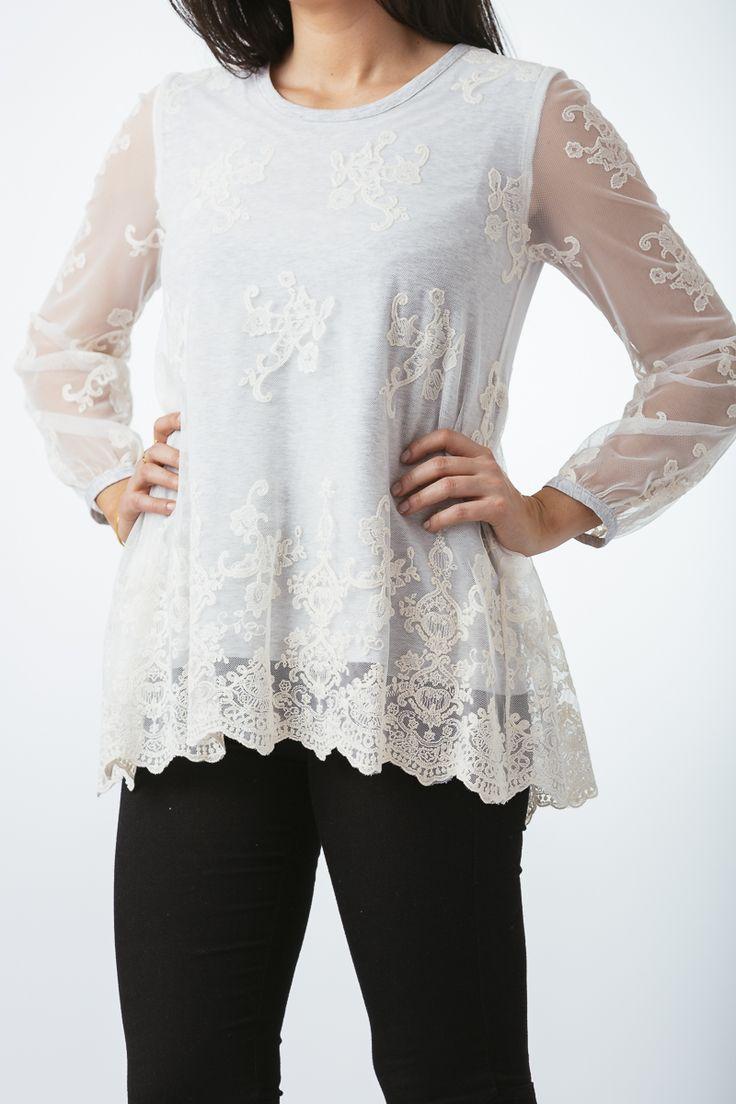 Camiseta de algodón con encaje vintage