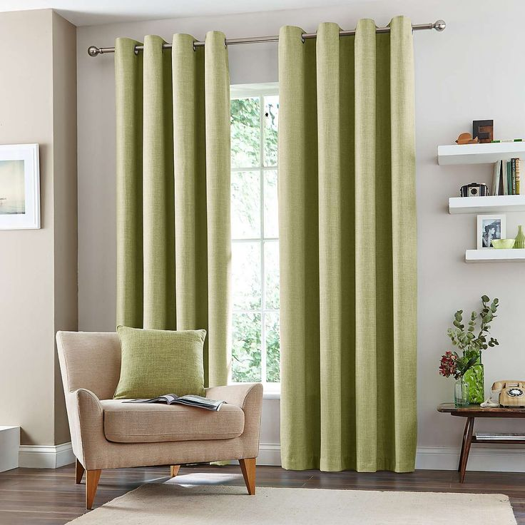 Green Vermont Lined Eyelet Curtains | Dunelm