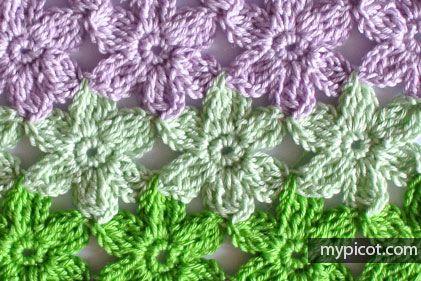 MyPicot | Free crochet patterns: Crochet Flower stitch