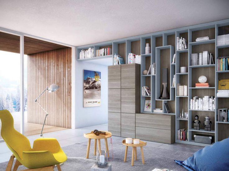 Une bibliothèque sur un mur entier