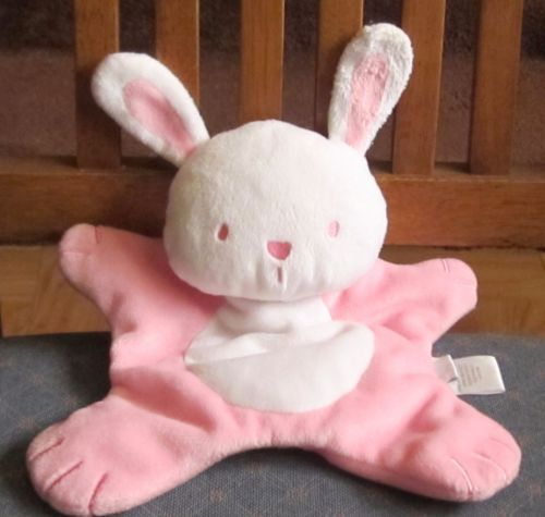 10-034-CARTERS-BABY-Pink-amp-White-BUNNY-Rabbit-SECURITY-Blanket-Lovie-23