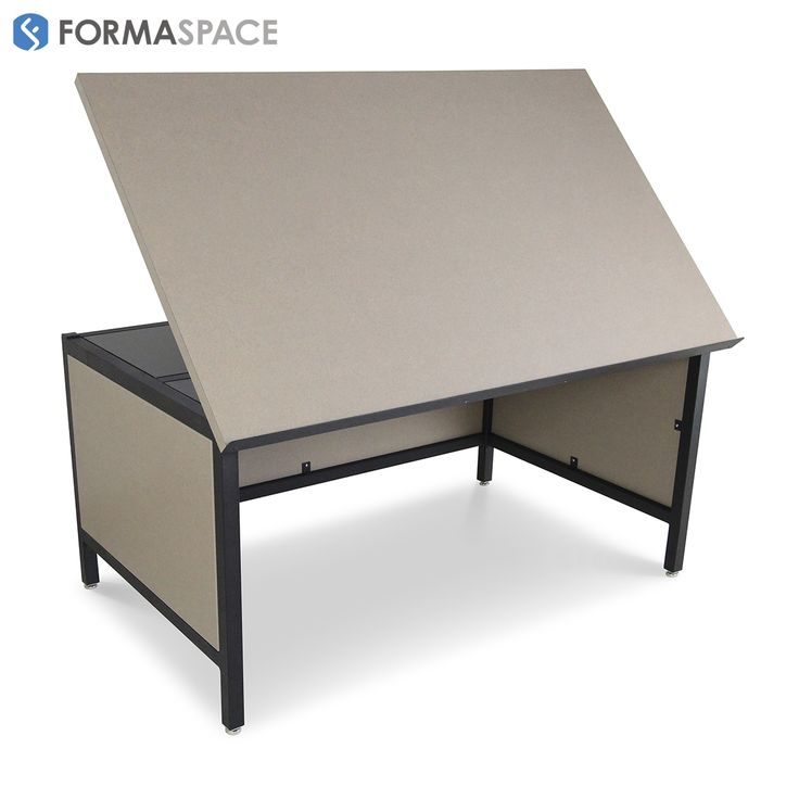 Drafting Table with Modesty Panels | FORMASPACE | These large drafting tables are designed for a nationwide office equipment supplier company headquartered in Texas. The custom laminate top is completed with a pencil lip to prevent tools falling when the counter top is lifted up. The adjustable countertop has the ability to lock at different angles to accommodate ergonomics, comfort, and specific tasks.