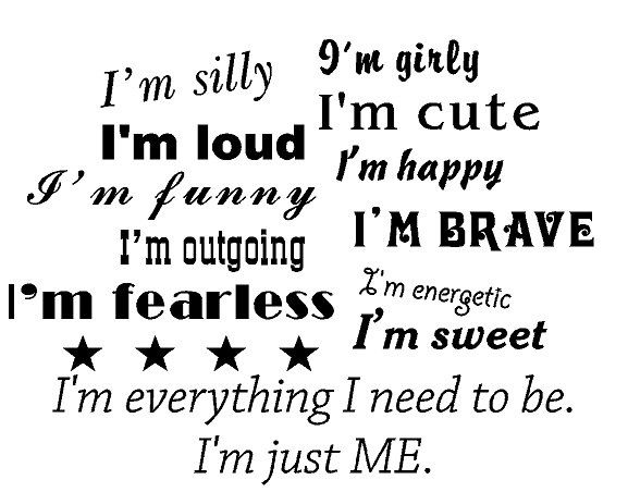 Girls room silly cute girly I'm just me wall quote by