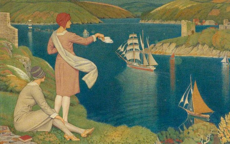 The Return Joseph Edward Southall (Fowey and Polruan Blockhouses are shows on the left and right)