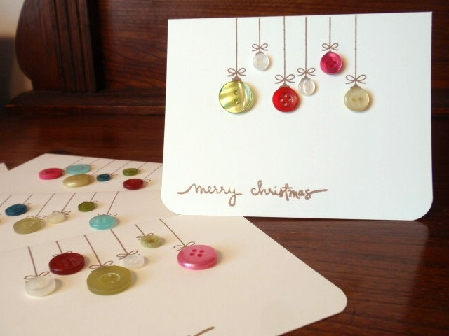 Button Christmas ornament notecards - Could totally make these
