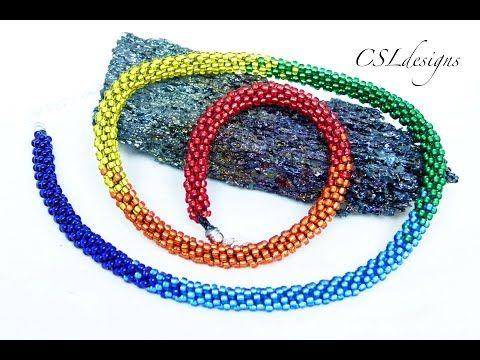Rainbow beaded kumihimo necklace - YouTube
