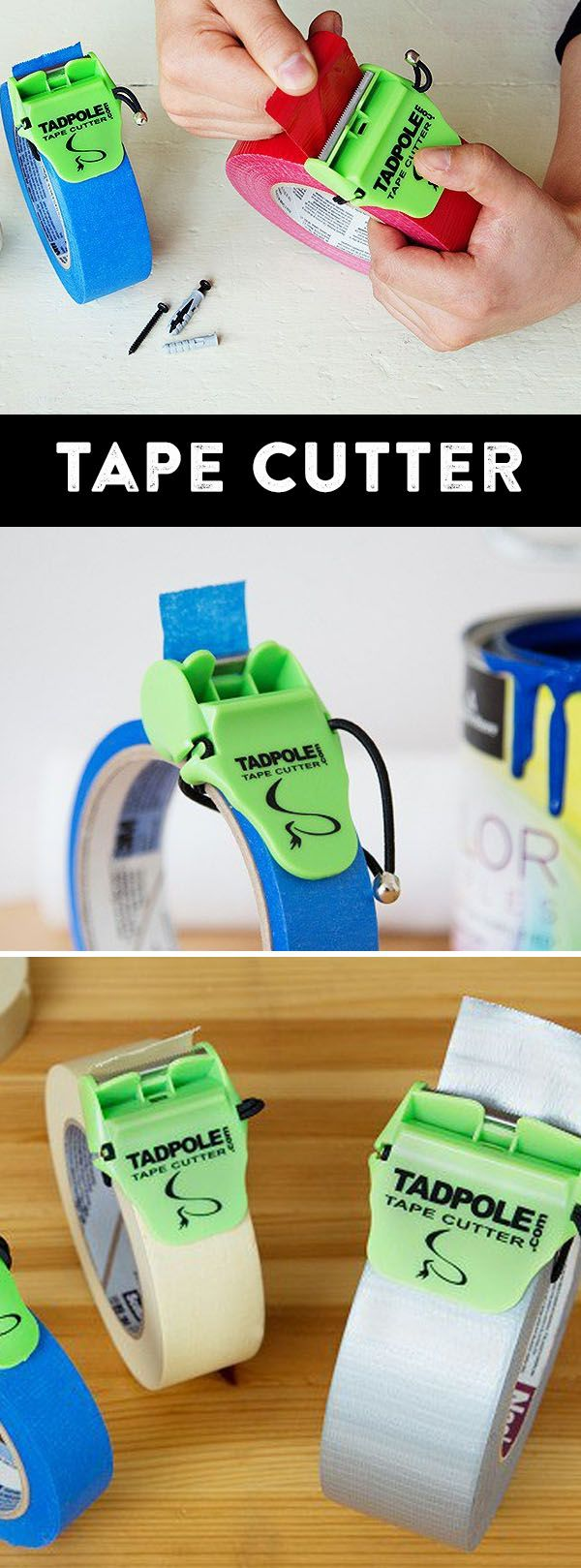 Ever struggled to find the end of a tape roll, or to cut off pieces? The Tadpole tape cutter will put an end to that.  Great for moving and packing boxes, DIY paint projects, and just to have around the house.