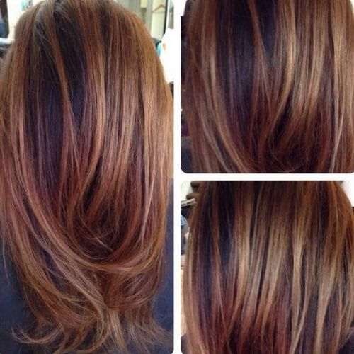 black hair chestnut highlights | Chestnut Ombre