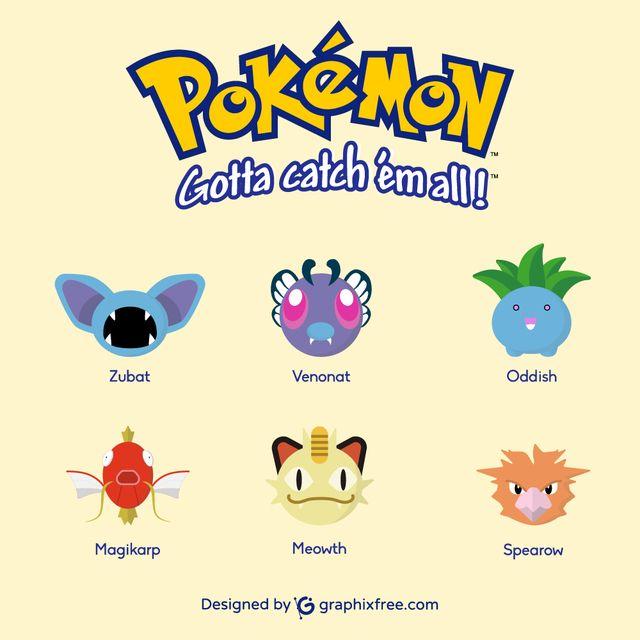 Pokemons: Zubat, Venonat, Oddish, Magikarp, Meowth, Spearow - #pokemons #go #pokemongo #pokemoncard #zubat #venonat #oddish #magikarp #meowth #spearow #games #gaming #manga #shinypokemon #nintendo #cosplay #catch #collecting #park