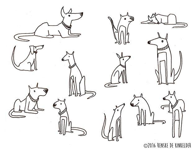 Dog Doodles. Micron pen. Renske de Kinkelder