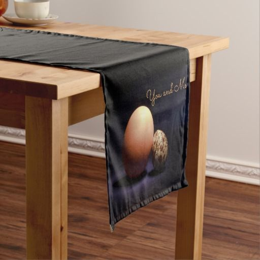 Chicken and quail eggs in love. Text «You and Me». Short Table Runner #tablerunner #chicken #quail #eggs #love #couple #lovers #beige #darkblue #stilllife #photography #darkness #funny #photo #food #kiychen #valentinesday  #darkpurple  #fantasy #youandme #customized #personalized #graphics #artwork #buy #sale #giftideas #zazzle #discount #deals #gifts #shopping