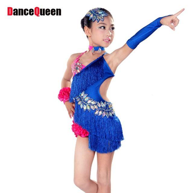 2017 Dress Девушки Танцуют Латинской Костюмы Для Детей Бальные Платья Дети Кисточкой Танец Латинской Dress Девушка Румба Самба Ковбой