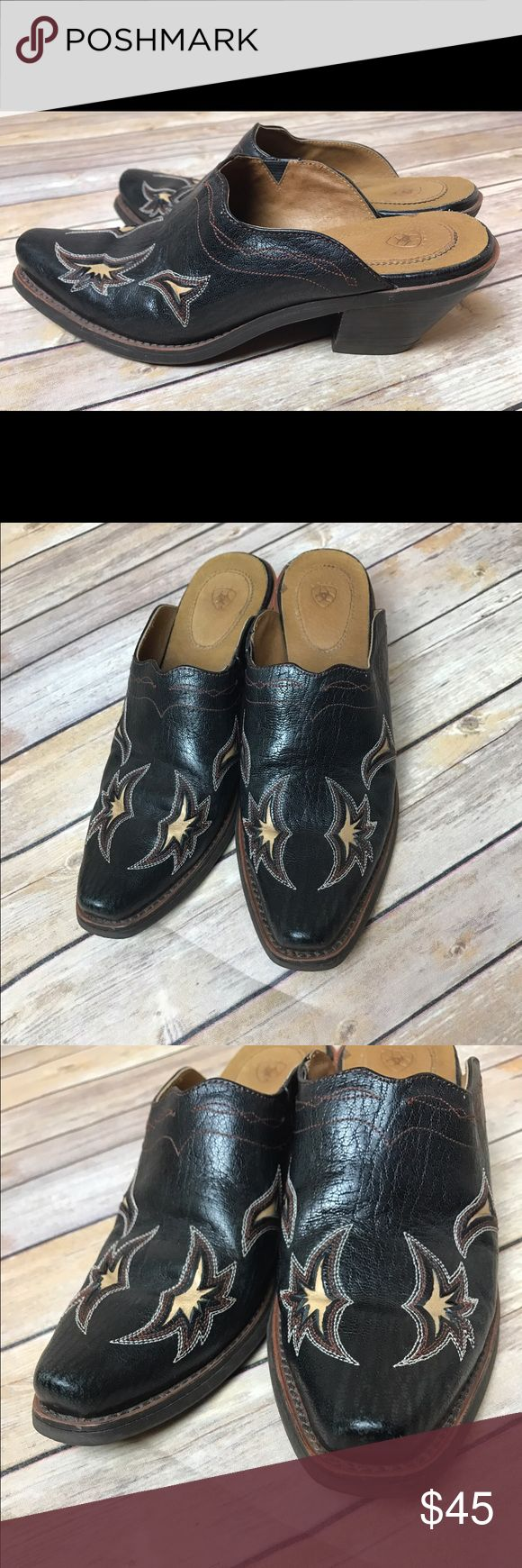 Ariat Leather Embroidered Western Mules Clogs Artiat Western Leather Pointed Toe Embroidered Slip On Mules  Size 6  Minor scuff on inner sole. Otherwise excellent condition. Please see pictures  MSRP $149 Smoke free home Ariat Shoes Mules & Clogs
