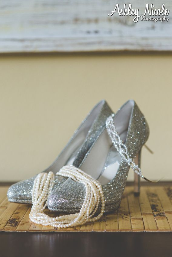 Traditional Wedding Details- Michael Kors glitter heels with tiara and pearls