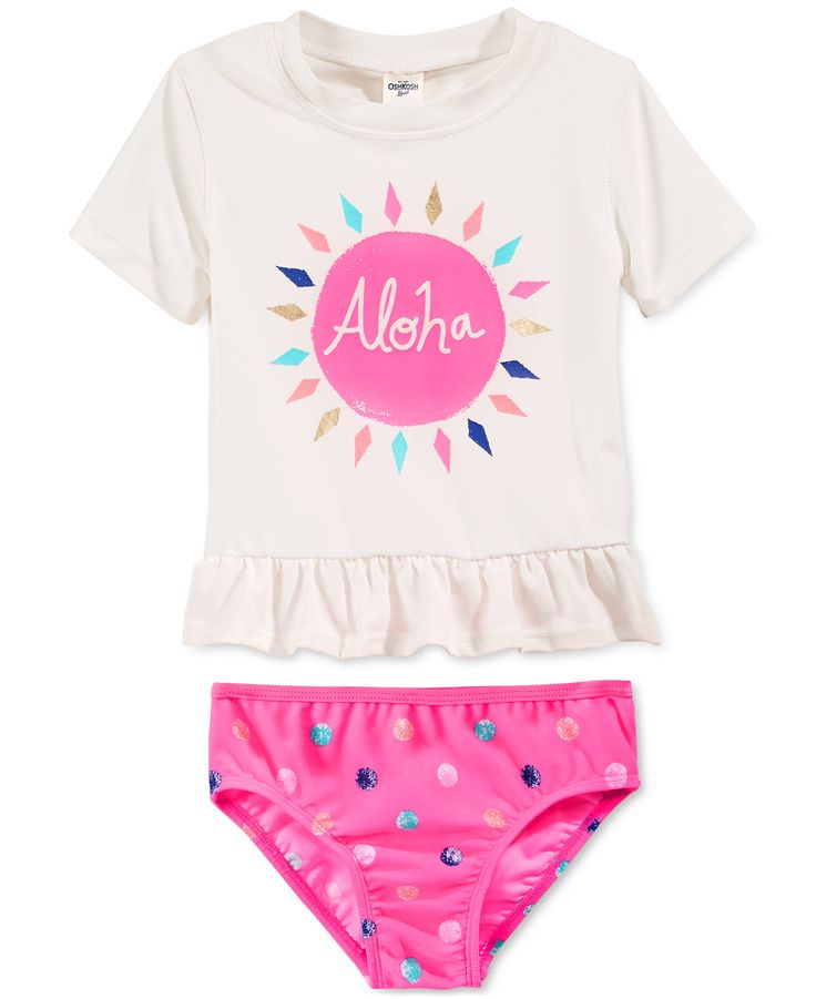 Osh Kosh Little Girls' 2-Piece Aloha Rash Guard Set - Swimwear - Kids & Baby - Macy's