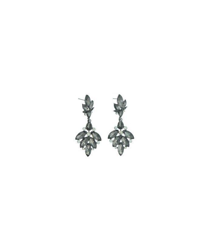 Zwarte oorbellen met grijze acrylaat stenen | Mooie lange zwarte oorbellen | Lengte van de oorbel is circa 7 cm. | EAN: 8718189404244 | A-zone fashion