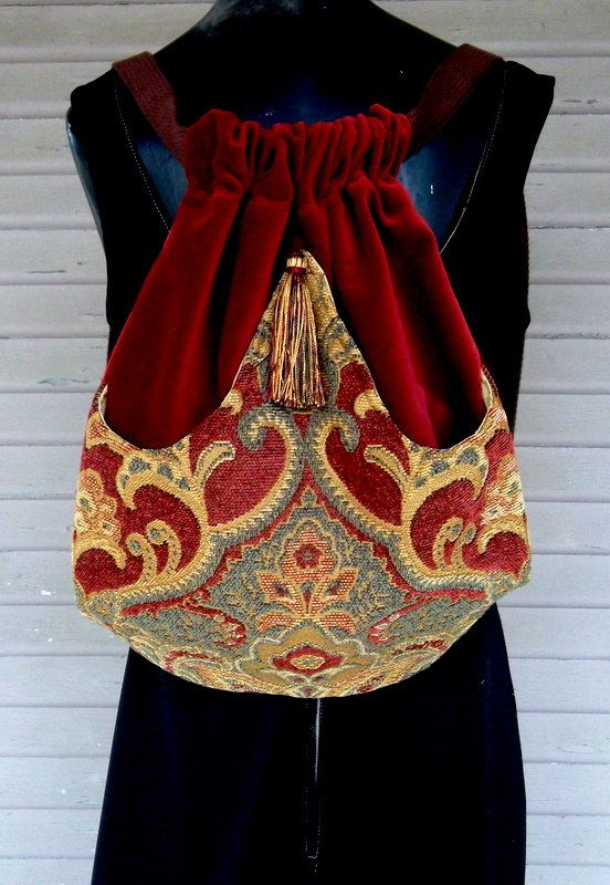 Backpack Medallion Tapestry Boho Backpacks tapestry sling bag brick red velvet tassel  cinch bag tapestry book bag
