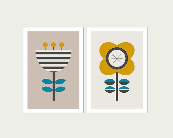 Scandi fiori arte moderna stampa serie di due. di LittleDesignHaus