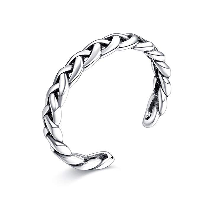 <b>LicLiz Sterling Silver</b> Braided Celtic Knot Adjustable Open Band ...