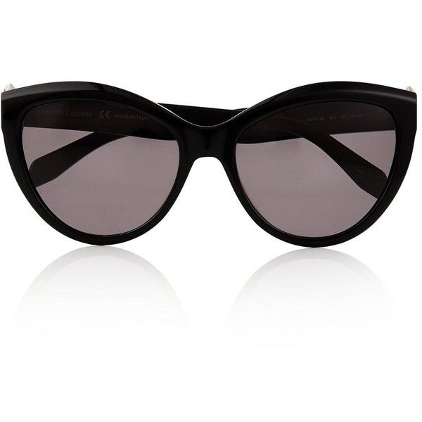 Alexander Mcqueen Sunglasses Pierced Cat Eye Sunglasses ($305) ❤ liked on Polyvore featuring accessories, eyewear, sunglasses, black, alexander mcqueen, cateye sunglasses, alexander mcqueen sunglasses, acetate glasses and embellished sunglasses