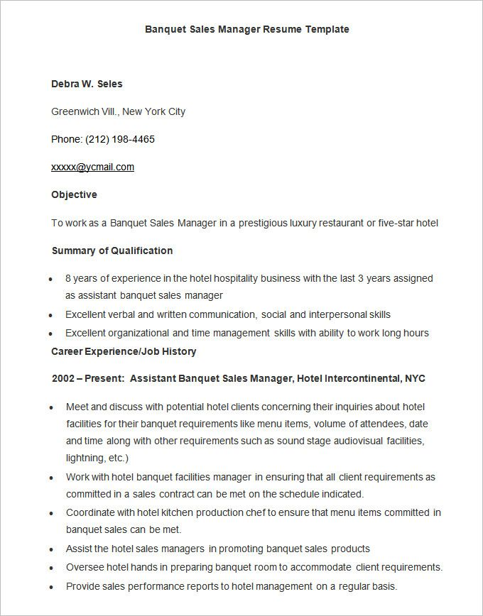 microsoft word resume template free samples examples format wordg - hotel sales manager resume