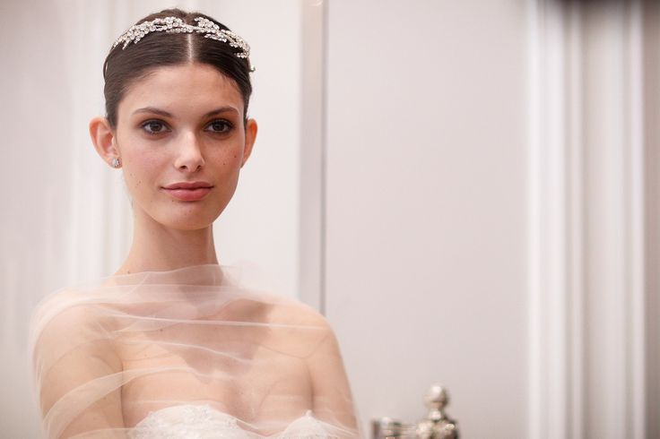 Monique Lhuillier Bridal Spring 2016: A Grecian goddess would feel at home in the bedazzled wreaths from the Monique Lhuillier bridal runway.