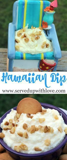 Hawaiian Dip recipe from Served Up With Love. Its a creamy, sweet tropical dip that will make you feel like you are on a sandy beach somewhere. Perfect to take to parties, potlucks, or just because. Its like a Pina Colada in dip form. #dessert #easy #recipe