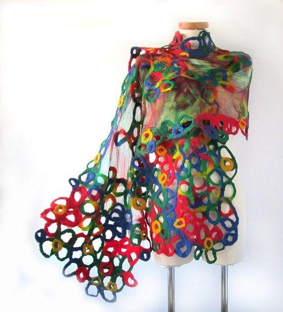 Nuno felted scarf   Rainbow circles under 100 by galafilc on Etsy, $93.00