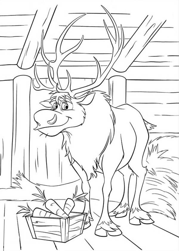 disney frozen sven coloring pages | Frozen, : Sven at His Barn Coloring Page