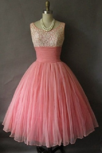 1950's pink chiffon party dress, white lace bodice with prong-set accents, ruched waist. No maker label.