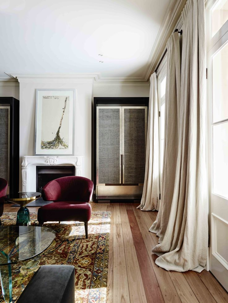 Sydney heritage house living room with  linen curtains, chinoiserie inspired joinery and Anatolian rug.