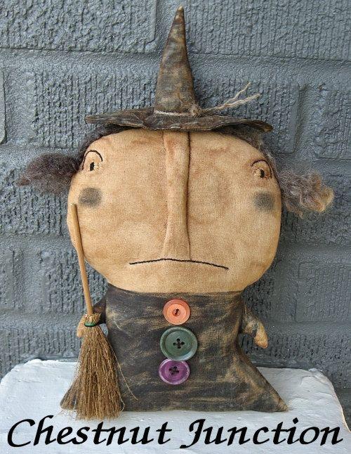 WITCH WINNLY epattern-primitive halloween cloth doll pattern-PDF-3.99