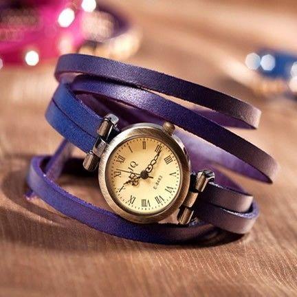 Bracelet Wristwatch Wrap Leather Watches Women 5 Circle Wrap Handmade Watches