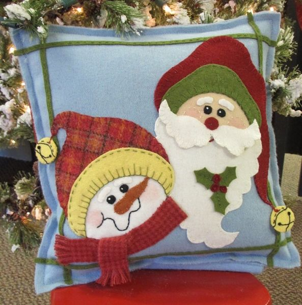 Our fun Christmas Buddies, Santa and Frosty, in bright Wool Applique.  A Special Materials Packet for you to applique the pattern from the Holiday Crafts Magazine for 2013.