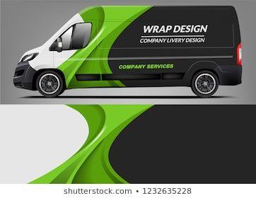 Van Wrap Livery deaign. Fertiges Design für die Druckverpackung für Van.   – Auto
