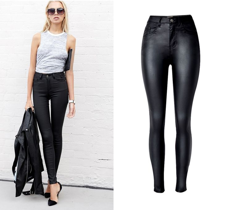 $14.99  ---- Fashion Strench Plus Size Black Coating faux Leather Pants Skinny High Waist pant women Pantalon Cuero Mujer pantalon cuir femme