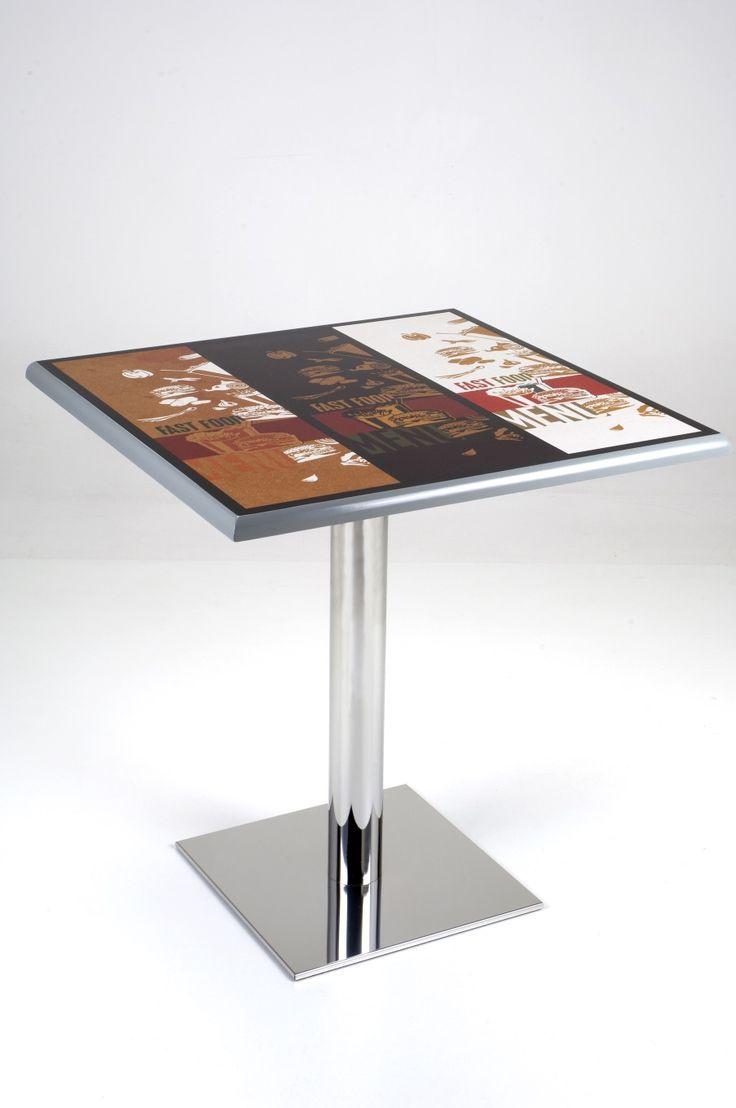 Table 180. Table with polished steel base and serigraphed square surface.  Tavolo 180. Tavolo con base in acciaio lucido e piano quadrato serigrafato.
