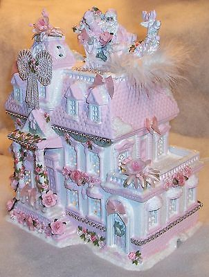 Pink Shabby Victorian Chic Lighted Christmas Village House w/ Santa & Sleigh