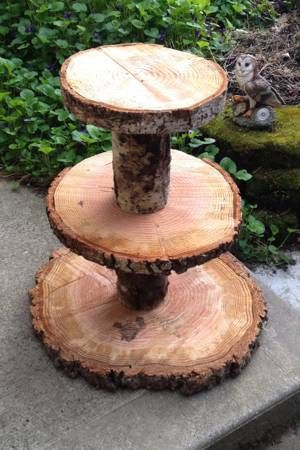 Rustic 3-Tier Cupcake Stand...Real, Raw, Chainsaw cut rounds!