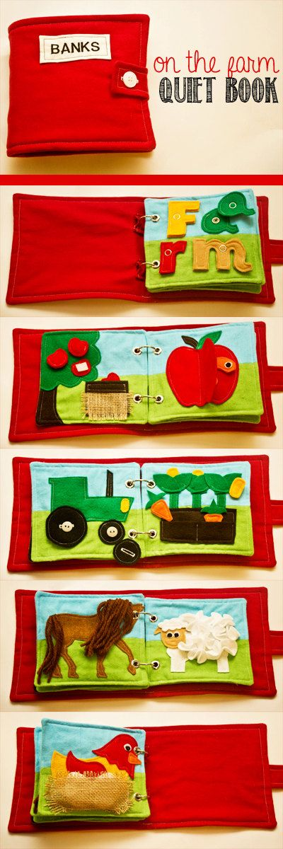 This Farm themed Quiet Book has 8 fun and interactive pages! When closed it measures approx. 7W X 6T X 1.5D in inches. It was created using