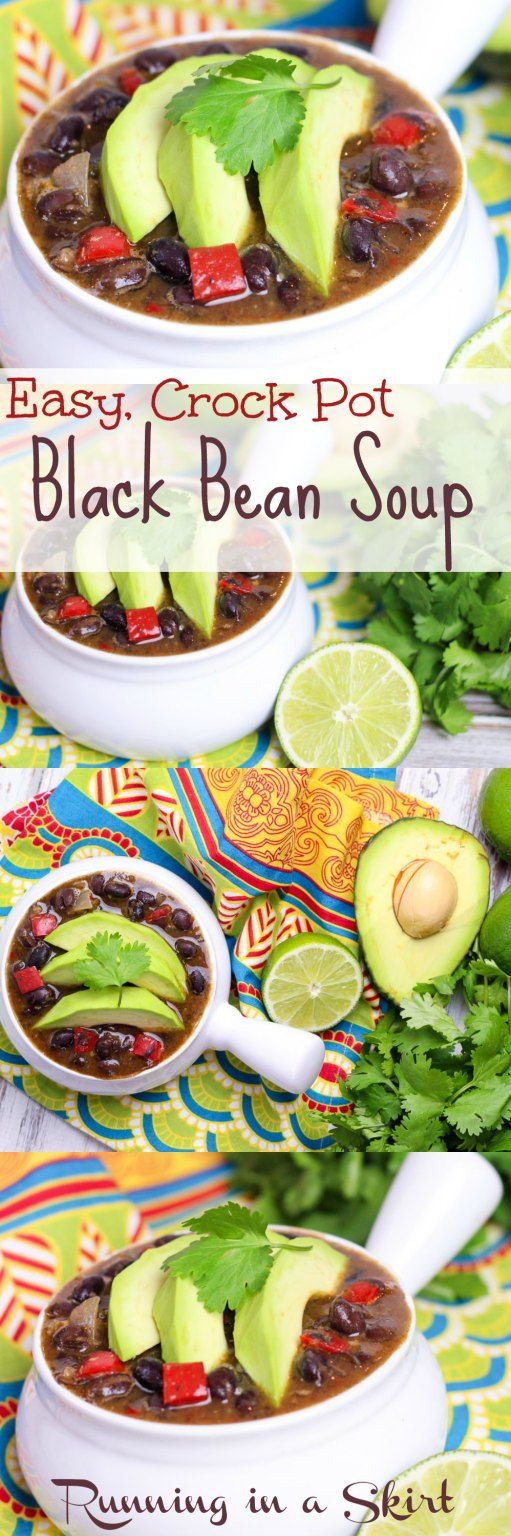Easy Crock Pot Black Bean Soup - Healthy, clean eating recipe for tasty vegetarian or vegan slow cooker soup. | Running in a Skirt