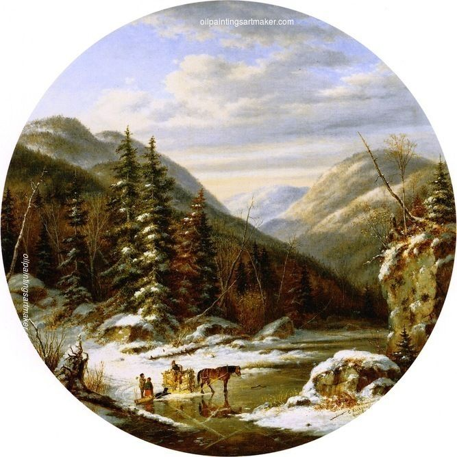 Cornelius Krieghoff Early Winter on the St. Anne's, below Quebec, painting Authorized official website